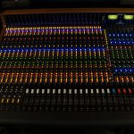Trident 88 recording console lit up from the top