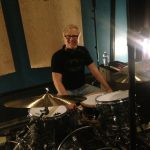 "Tim Pedersen recording drums on Tita Hutchison's ""Hello Love"" at Ultimate Studios, Inc"