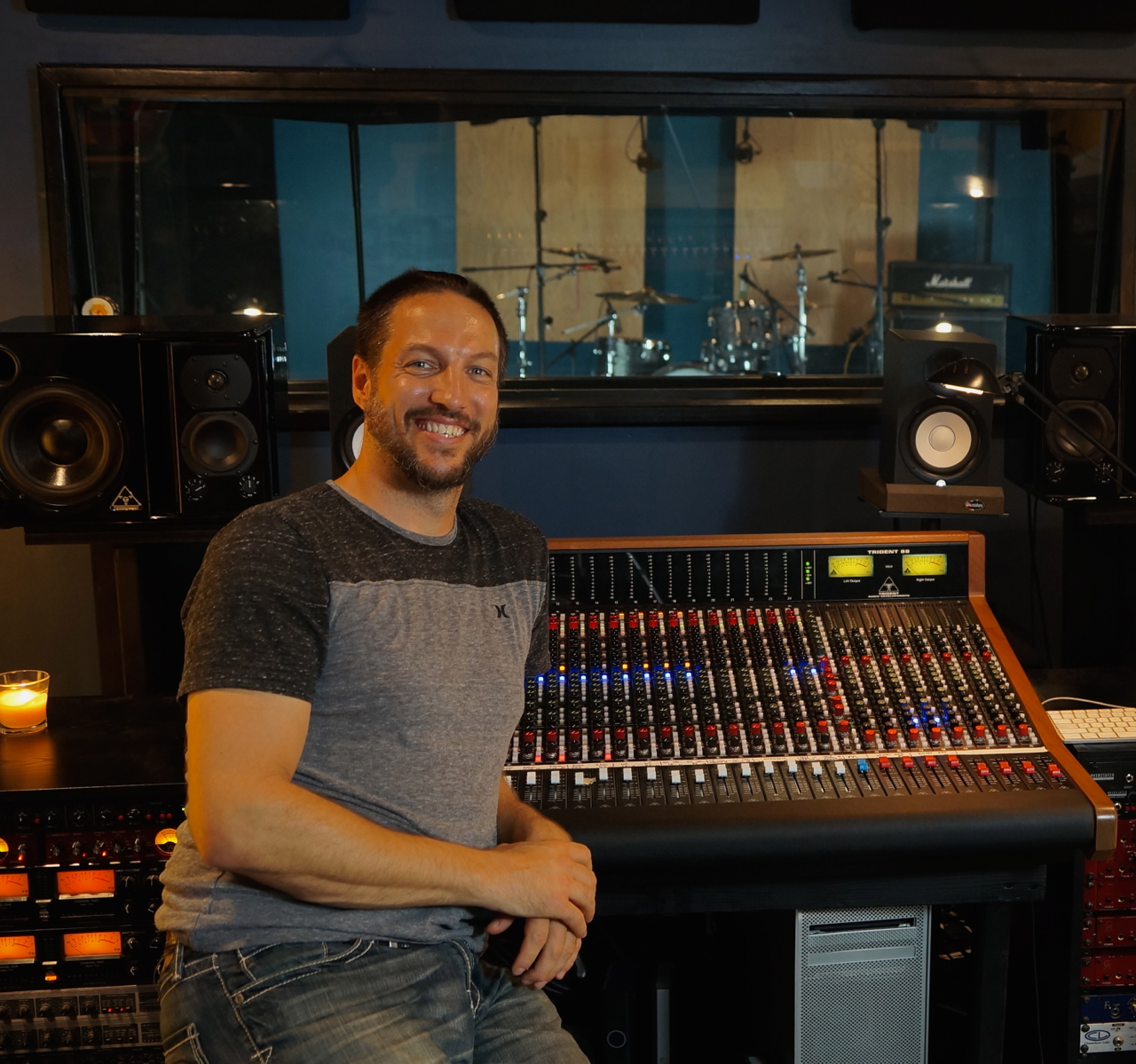 Producer and Recording Engineer Charlie Waymire at Ultimate Studios, Inc with the Trident 88 analog console