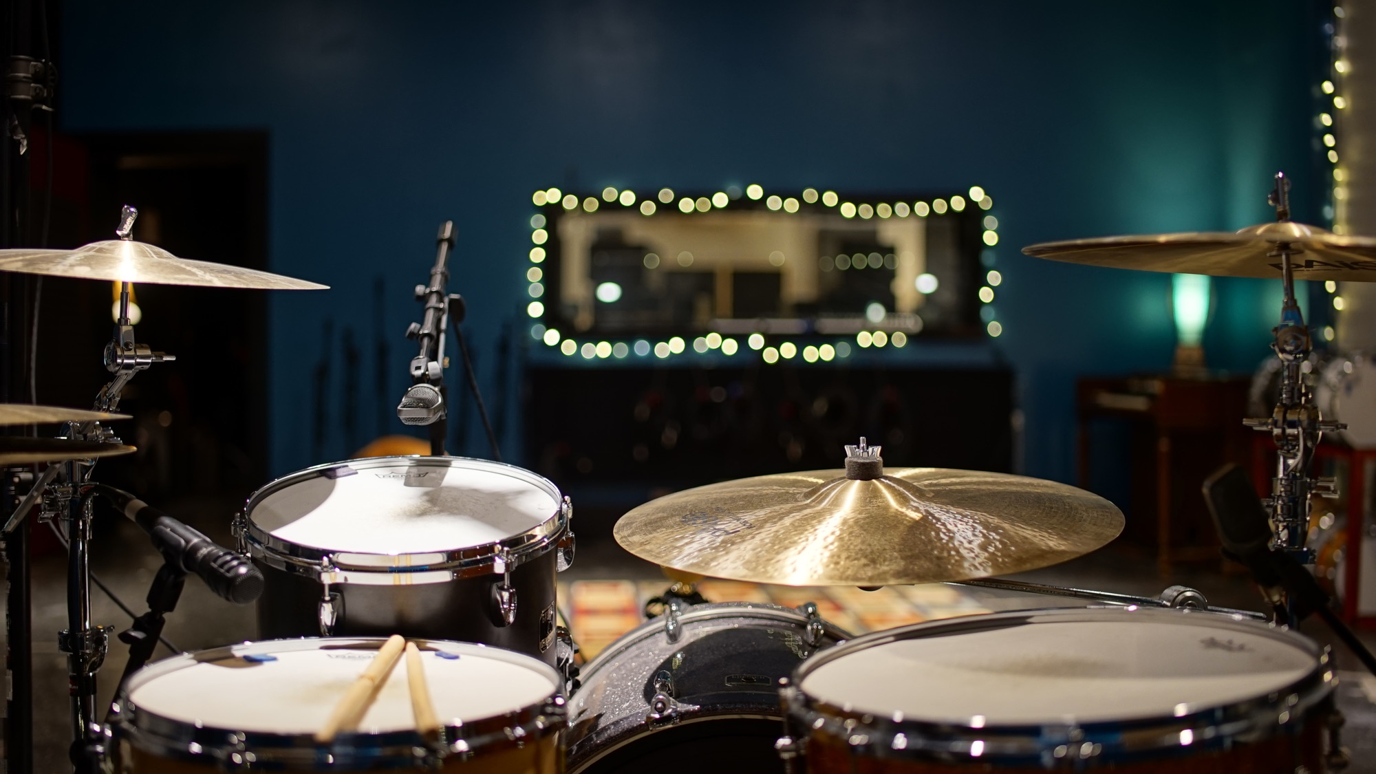 Drums in the live room at Ultimate Studios, Inc