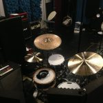 The drum setup for recording Frost