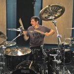 Ray Luzier of Korn recording drums at Ultimate Studios, Inc Los Angeles