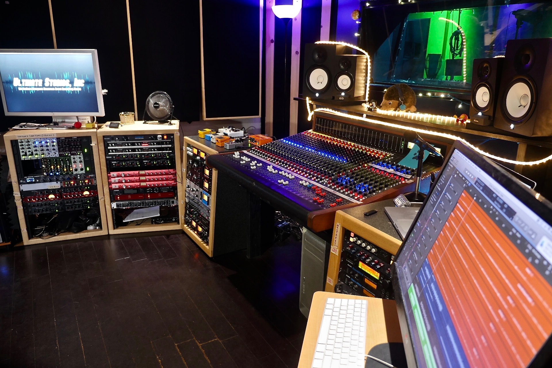 The control room featuring the Trident 88 analog recording console at Ultimate Studios, Inc
